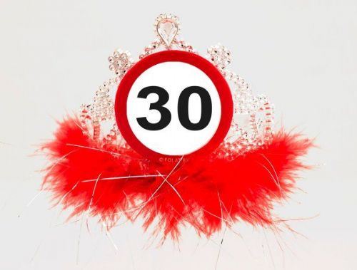 Traffic Sign 30th Party Tiara W/ Feathers Birthday Novelty Gift Favor Hat Crown